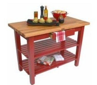 "John Boos OC4825 S BN American Heritage Oak C Table, 1-Shelf, 48 x 25 x 35"" H, Barn Red"
