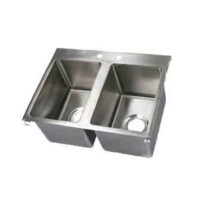 """John Boos PB-DISINK101410-2 Drop-In Sink - (2)10x14x10"""" Bowls, 16-ga Stainless"""