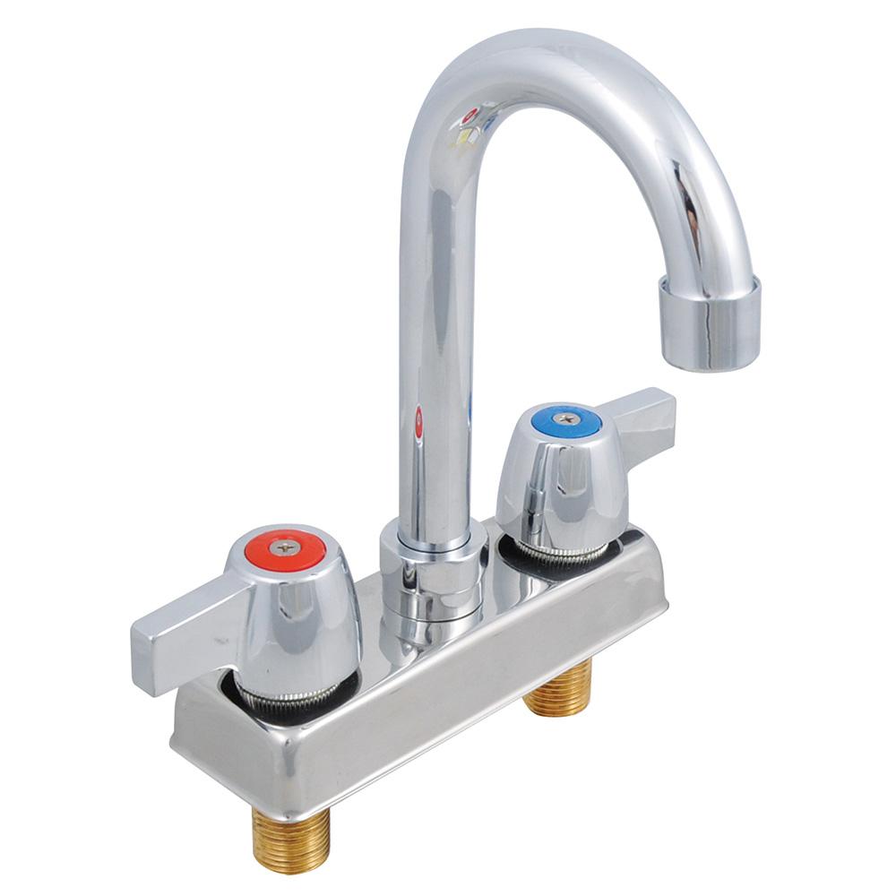 """John Boos PBF-4-D-LF Standard Lead Economy Gooseneck Faucet, Deck Mount, 3.5"""" Spout, 4"""" Center"""