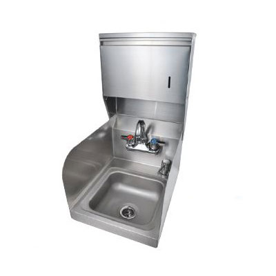 "John Boos PBHS-99-P-SSTD Splash Mount Hand Sink w/ Gooseneck, 1-Hole, 2-Side Splash, 9 x 9 x 5"" Bowl"