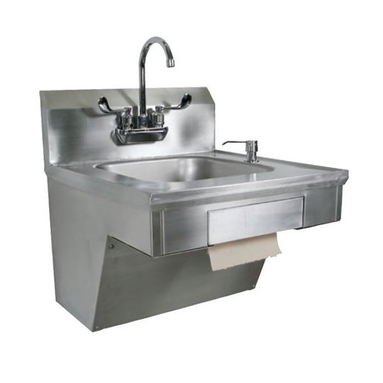 John Boos PBHS-ADA-P-STD Splash Mount Hand Sink w/ Gooseneck Faucet, 4-in On-Center, 14 x 10 x 5-in Bowl