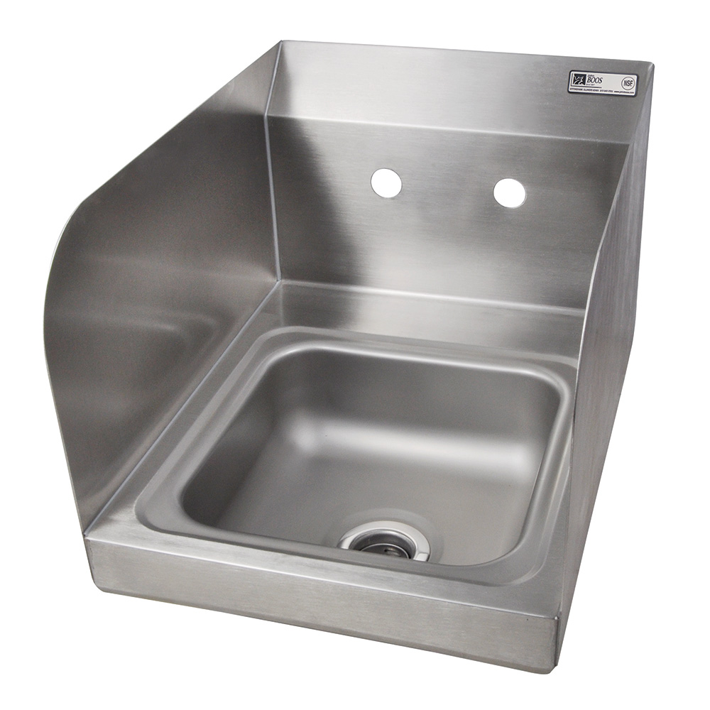 "John Boos PBHS-W-0909-SSLR Splash Mount Hand Sink w/ 2-Side Splash, 4"" On-Center, 9 x 9 x 5"" Bowl"