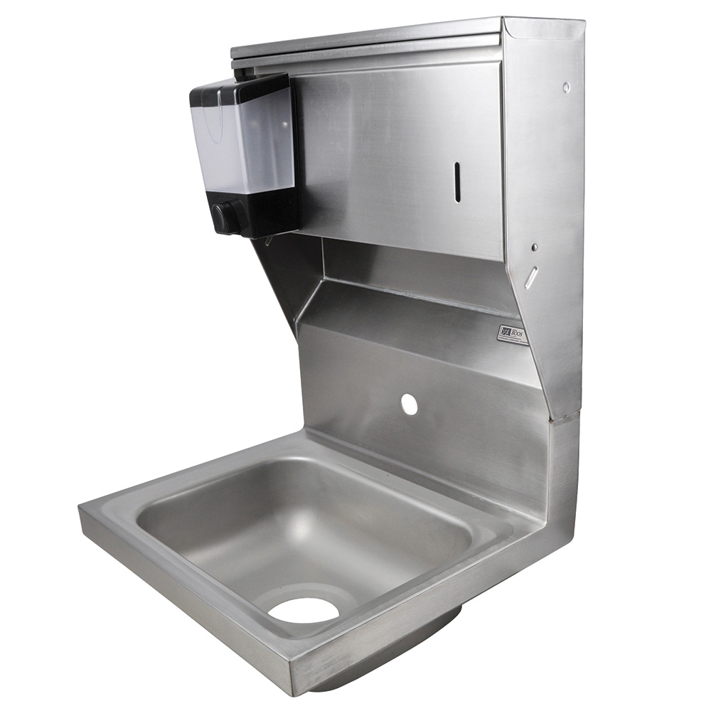 "John Boos PBHS-W-1410-1-SDTD Splash Mount Hand Sink w/ Dispensers, 1-Hole, 14 x 10 x 5"" Bowl"
