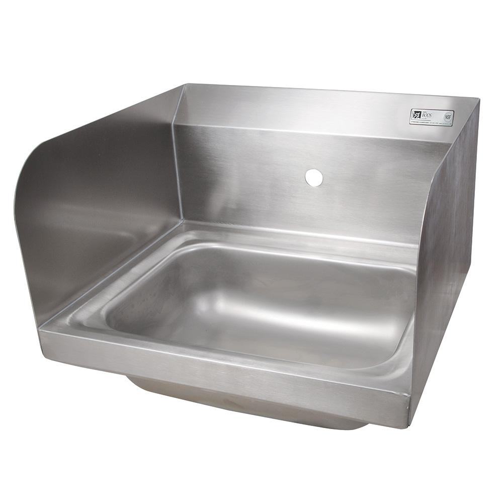 "John Boos PBHS-W-1410-1-SSLR Wall Mount Commercial Hand Sink w/ 14""L x 10""W x 5""D Bowl, Side Splashes"