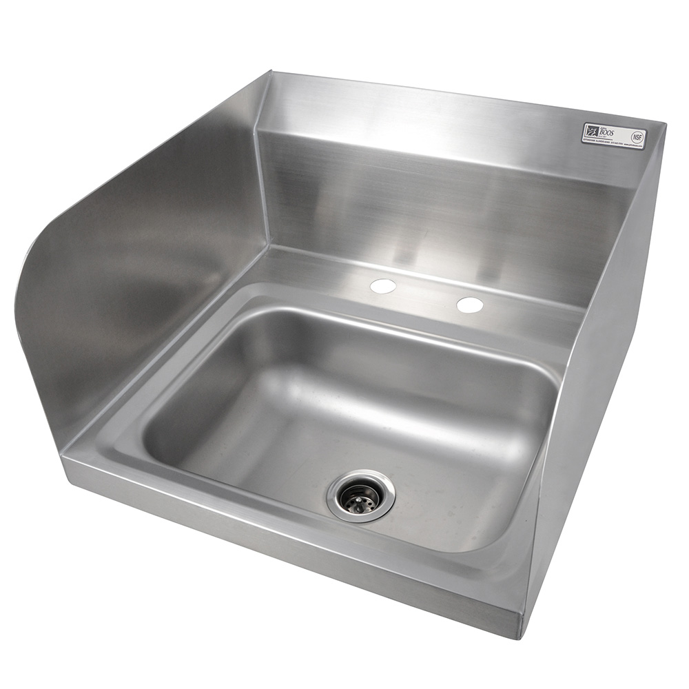 John Boos PBHS-W-1410-2DM-SSLR Deck Mount Hand Sink w/ 2-Side Splash, 4-in On-Center, 14 x 10 x 5-in Bowl