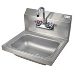 "John Boos PBHS-W-1410-P Splash Mount Hand Sink w/ Faucet, 4"" On-Center, 14 x 10 x 5"" Bowl"