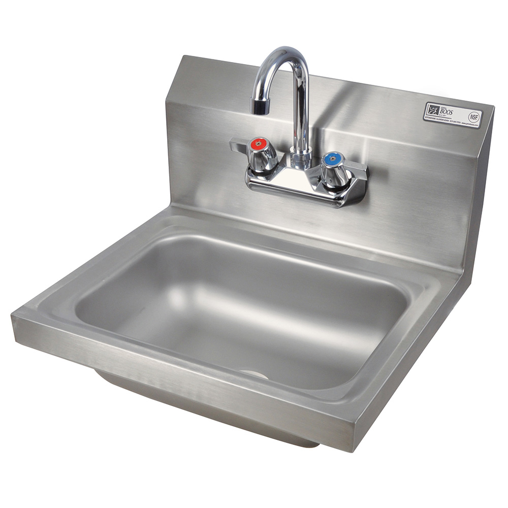 John Boos PBHS-W-1410-P Splash Mount Hand Sink w/ Faucet, 4-in On-Center, 14 x 10 x 5-in Bowl