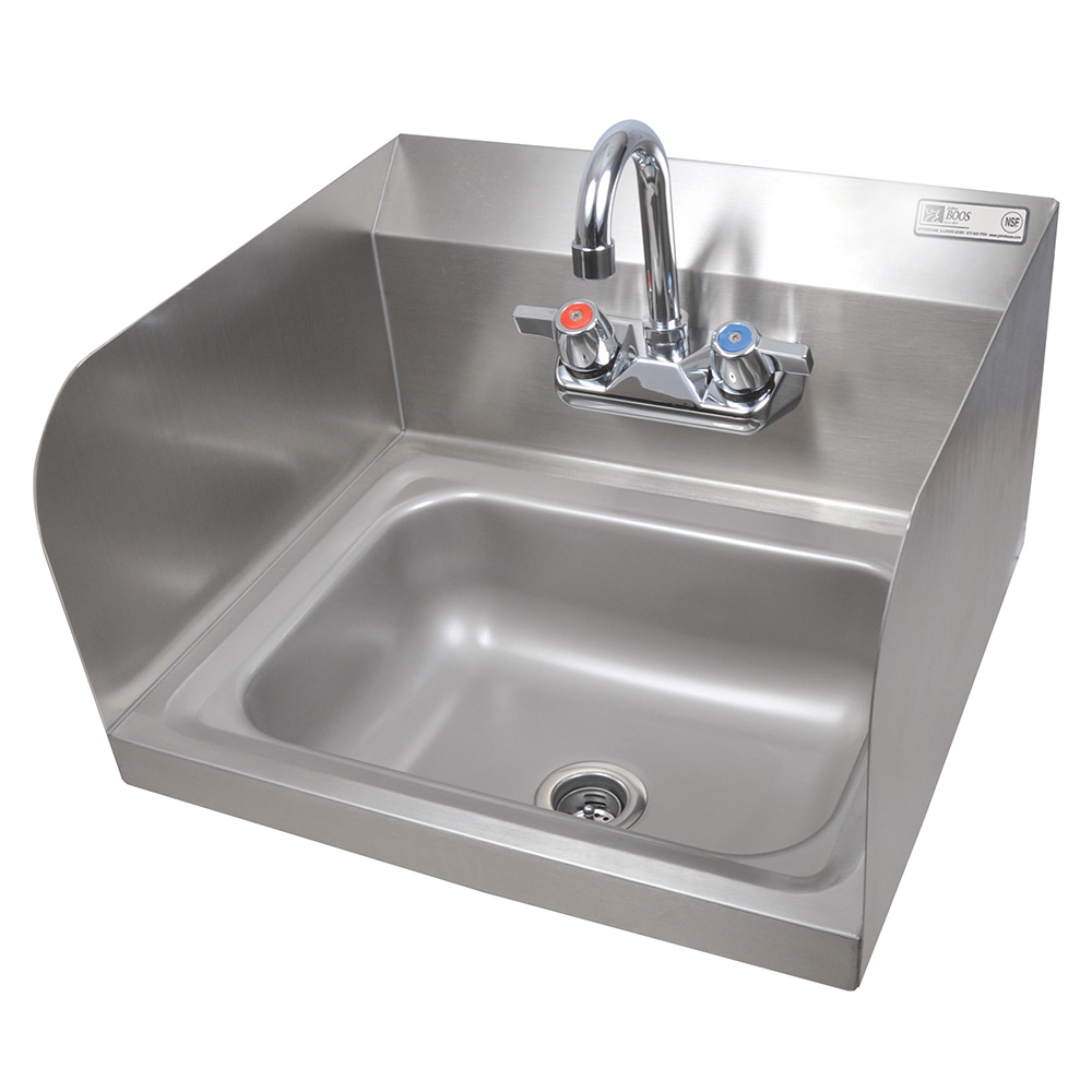 "John Boos PBHS-W-1410-P-SSLR Wall Mount Commercial Hand Sink w/ 14""L x 10""W x 5""D Bowl, Side Splashes"