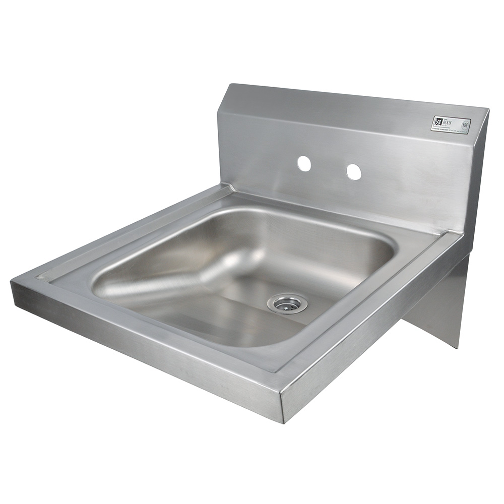"John Boos PBHS-W-1416ADAS Splash Mount Hand Sink, 4"" On-Center, 20 x 24 x 5"""