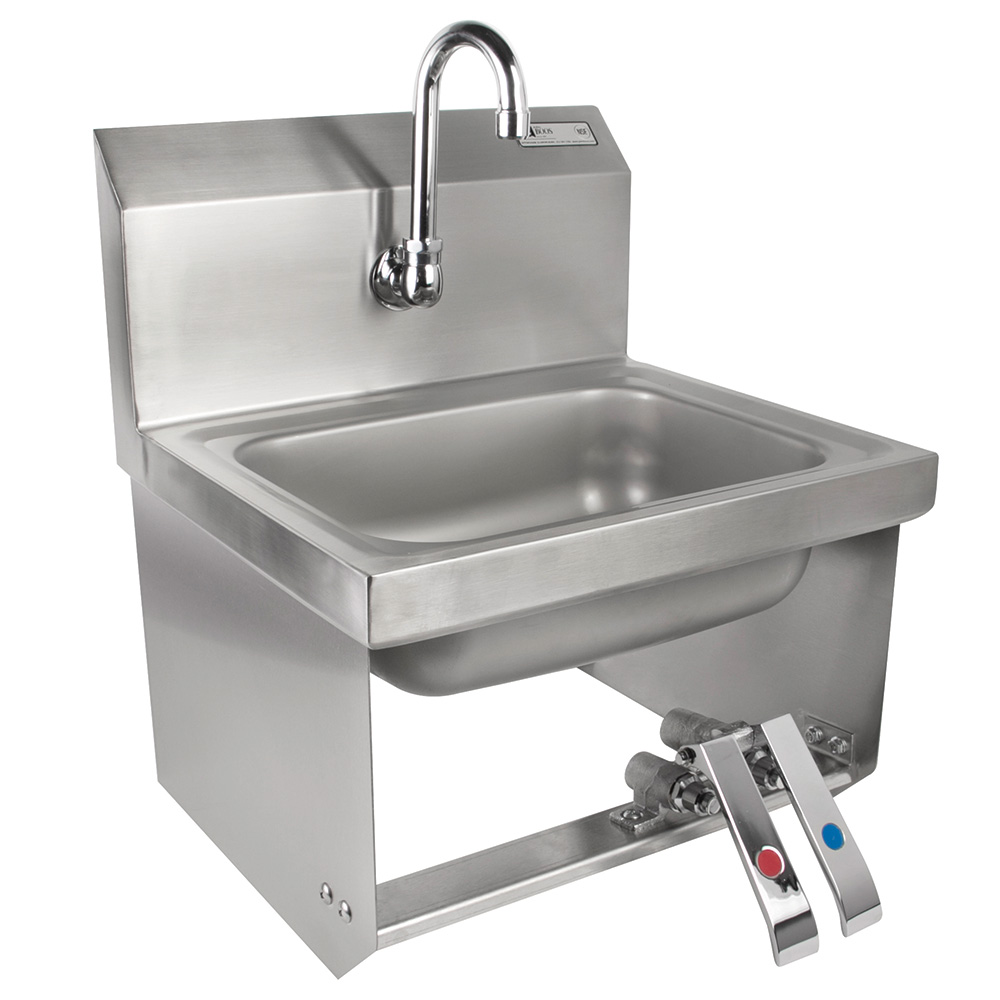 John Boos PBHS-W-KVMB-1 Splash Mount Hand Sink w/ Gooseneck Spout, 1-Hole, 14 x 10 x 5-in Bowl