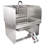 John Boos PBHS-W-KVMB-SSP Splash Mount Hand Sink, Gooseneck Spout, 1-Hole, 2-Side Splash, 14x10x5-in Bowl