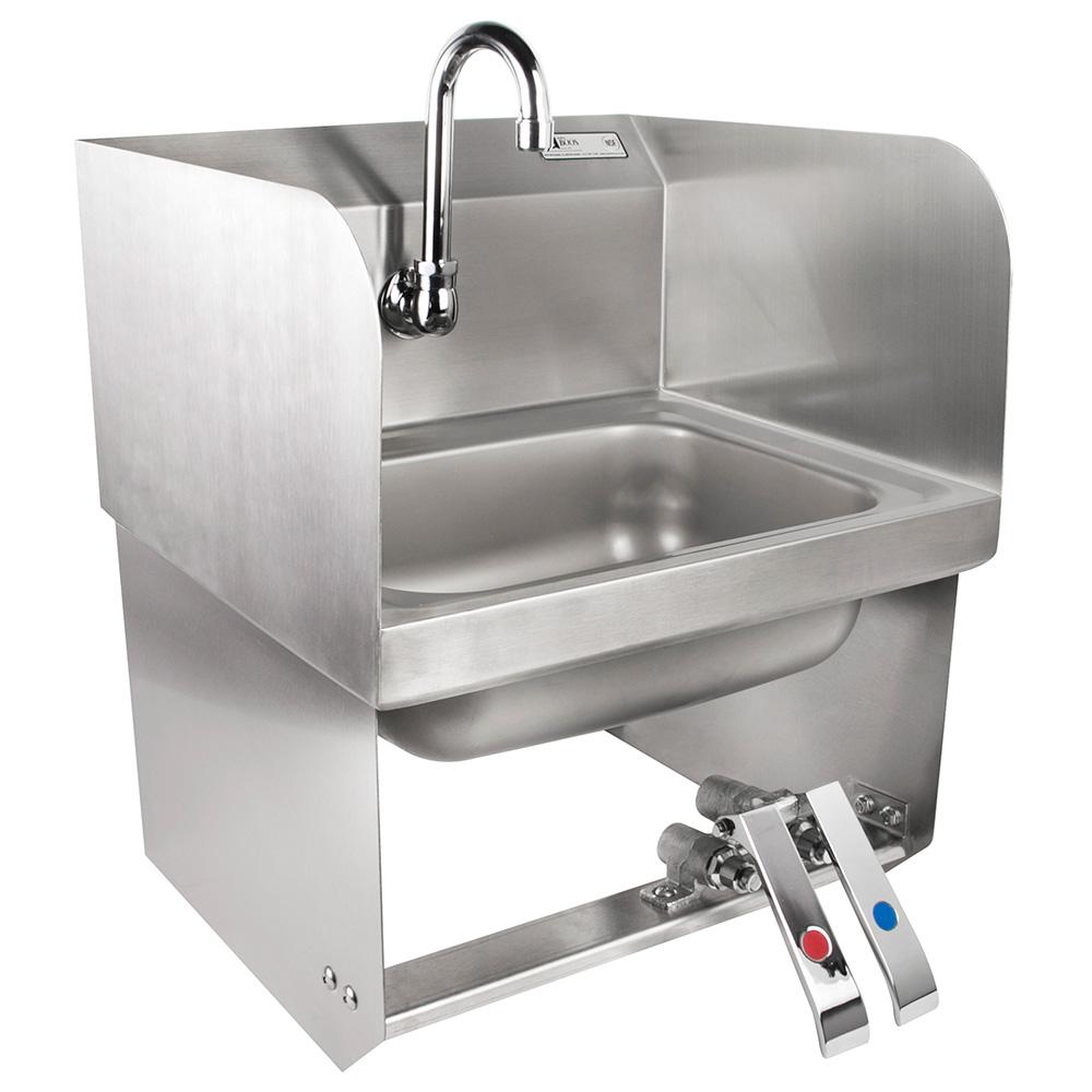 """John Boos PBHS-W-KVMB-SSP Splash Mount Hand Sink, Gooseneck Spout, 1-Hole, 2-Side Splash, 14x10x5"""" Bowl"""
