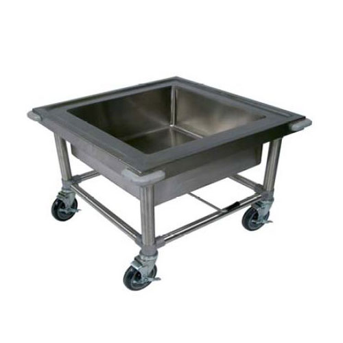 John Boos PB-SS-208 Mobile Sink w/ Stainless Legs & 20 x 20 x 8-in Bowl, Marine Edge, Corner Bumpers