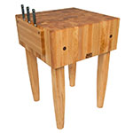 "John Boos PCA3 10"" Maple Top Butcher Block Work Table - 24""L x 24""D"