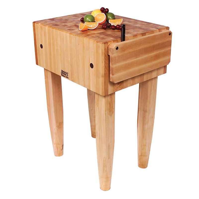"John Boos PCA4 10"" Maple Top Butcher Block Work Table - 24""L x 30""D"