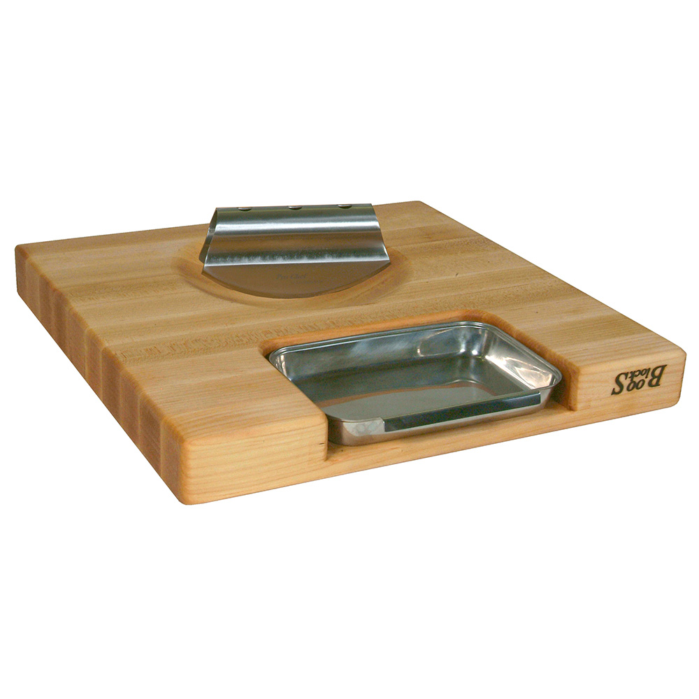 "John Boos PM18180225-P-RK Gift Collection w/ 18x18x2.25"" Cutting Board, Pan & Rocker Knife, Cream"