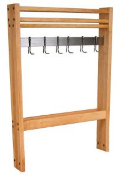 "John Boos POTR24 Pot Rack, Maple, Stainless Steel Bar & Hooks, 24""Wide"