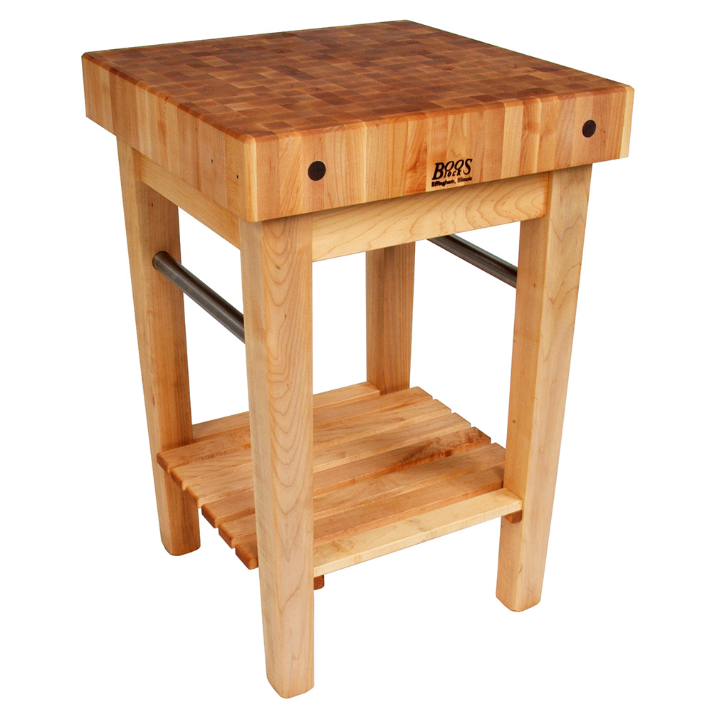 "John Boos PPB2424 4"" Maple Top Butcher Block Work Table w/ Undershelf- 24""L x 24""D"