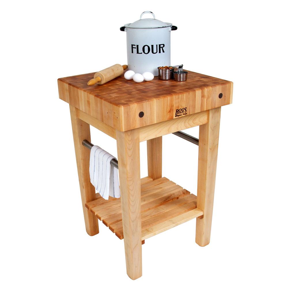 "John Boos PPB3024 4"" Maple Top Butcher Block Work Table w/ Undershelf- 30""L x 24""D"