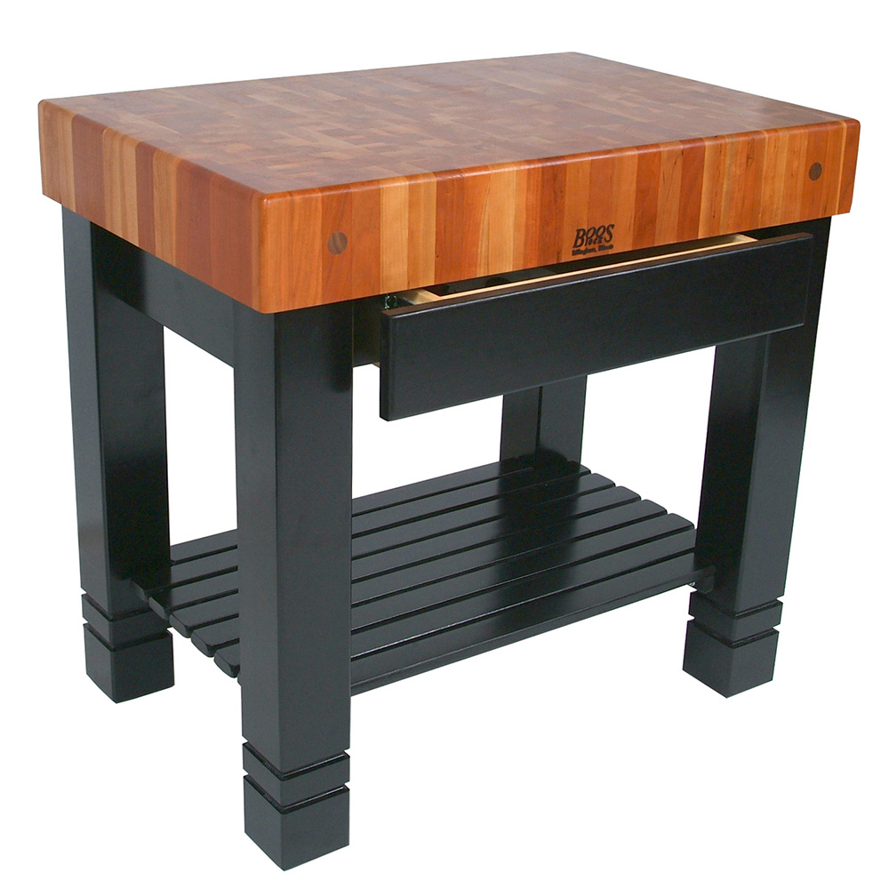 "John Boos RN-BF Bloc de Foyer Table, 5"" Thick End Grain American Cherry, Black Base, 36 x 24"