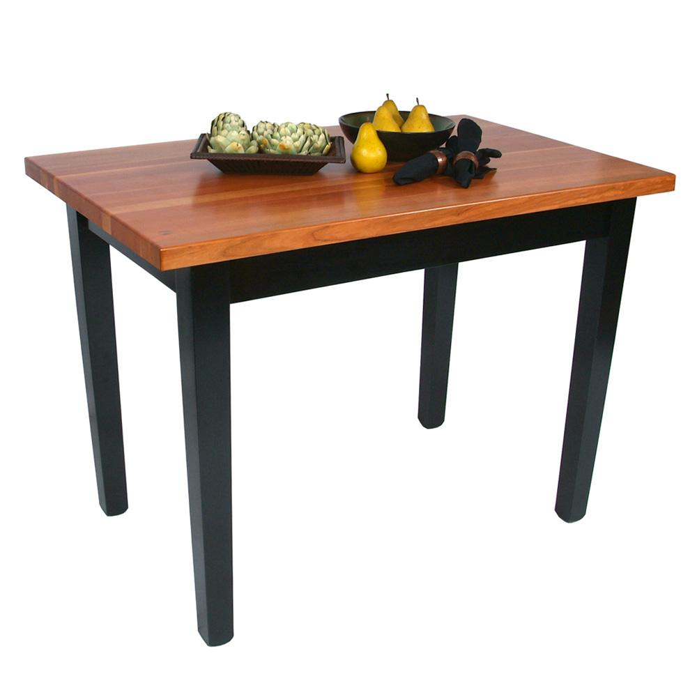 "John Boos RN-C3624-S Le Classique Table, 1.5"" Edge Grain Cherry, Black Base, 1 Shelf, 36 x 24"""