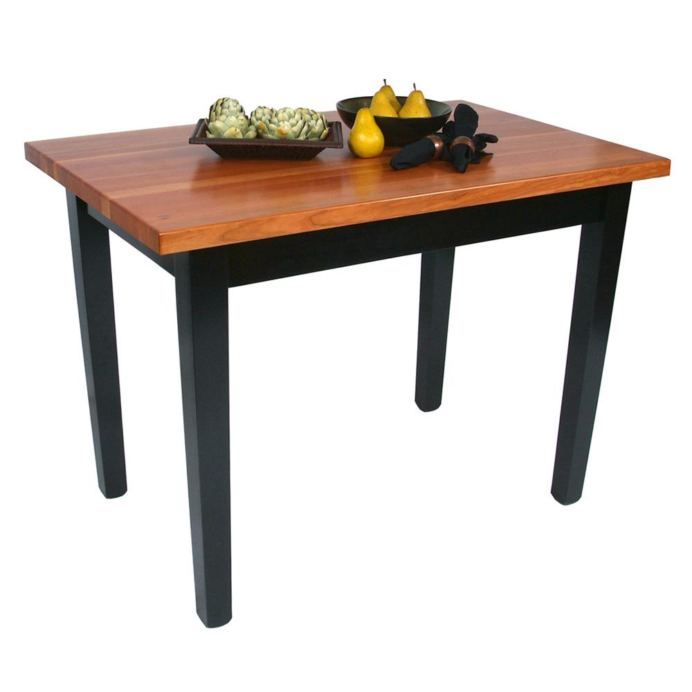 "John Boos RN-C6024-S Le Classique Table, 1.5"" Edge Grain Cherry, Black Base, 1 Shelf, 60 x 24"""