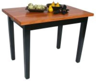 "John Boos RN-C48362-S Le Classique Table, 1.5"" Edge Grain Cherry, Black Base, 2 Shelves, 48 x 36"""