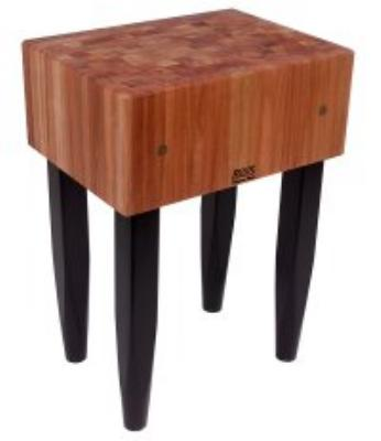 John Boos RN-LB2424 Le Bloc Table, 10 in Deep End Grain Cherry Block, Black Base, 24 x 24 in