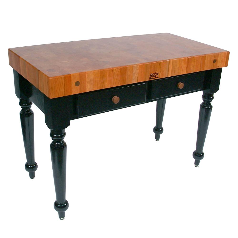 "John Boos RN-LR04 Le Rustica Table, 4"" Thick End Grain Cherry Block, Black Base, 30 x 24"""