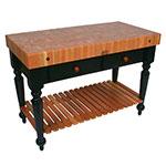 """John Boos RN-LR04-SSL Le Rustica Table, 4"""" Thick End Grain Cherry Top, Shelf, Black Base, 30 x 24"""""""