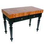 "John Boos RN-LR05 Le Rustica Table, 4"" Thick End Grain Cherry Block, Black Base, 48 x 24"""