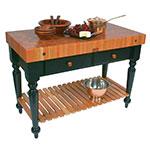 """John Boos RN-LR05-SSL Le Rustica Table, 4"""" Thick End Grain Cherry Top, Shelf, Black Base, 48 x 24"""""""