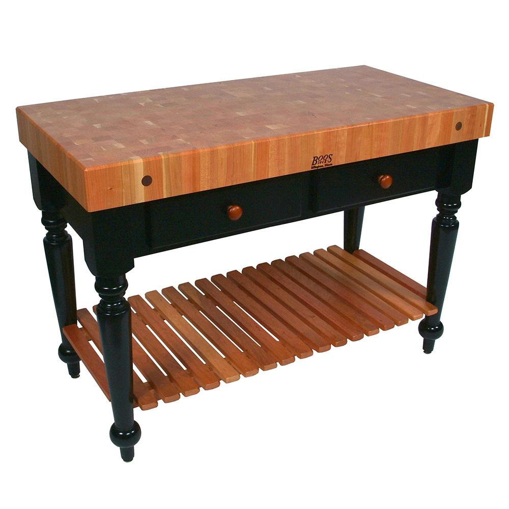 John Boos RN-LR05-SSL Le Rustica Table, 4 in Thick End Grain Cherry Top, Shelf, Black Base, 48 x 24 in