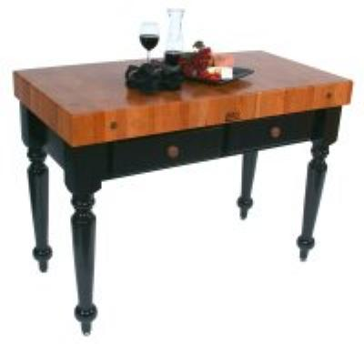 John Boos RN-LR04 Le Rustica Table, 4 in Thick End Grain Cherry Block, Black Base, 30 x 24 in