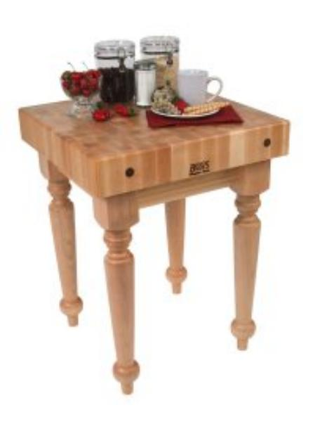 John Boos SARB1-M Block Table w/ 4-in Hard Rock Maple Top, Turned Legs, 24 x 24-in