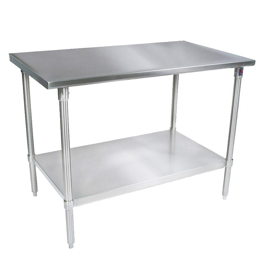 "John Boos ST4-24108GSK 108"" 14-ga Work Table w/ Undershelf & 300-Series Stainless Flat Top"