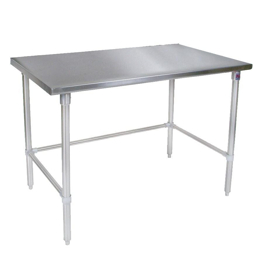 """John Boos ST4-3072SBK 72"""" 14-ga Work Table w/ Open Base & 300-Series Stainless Flat Top"""