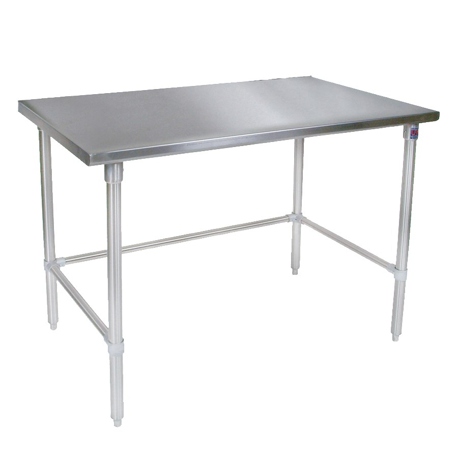 "John Boos ST4-3684SBK 84"" 14-ga Work Table w/ Open Base & 300-Series Stainless Flat Top"