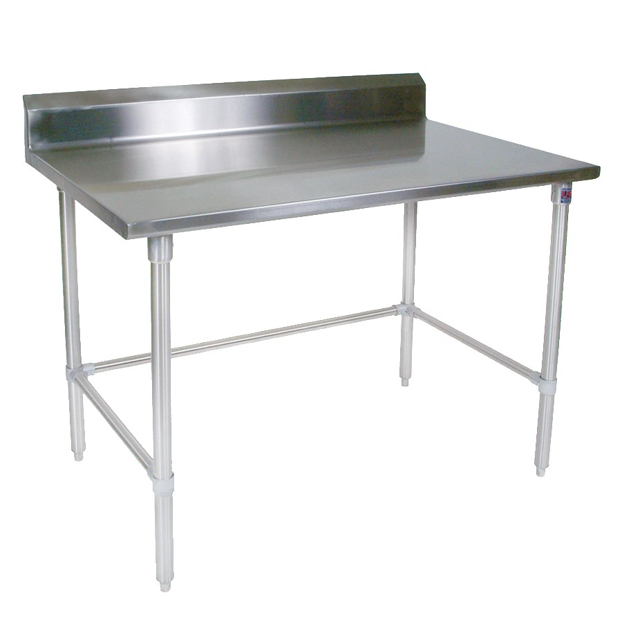 "John Boos ST4R5-24120GBK 120"" 14-ga Work Table w/ Open Base & 300-Series Stainless Top, 5"" Backsplash"