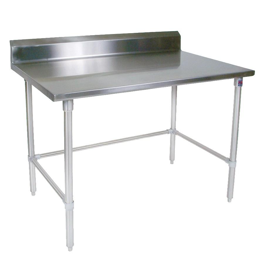 """John Boos ST4R5-24120SBK 120"""" 14-ga Work Table w/ Open Base & 300-Series Stainless Top, 5"""" Backsplash"""