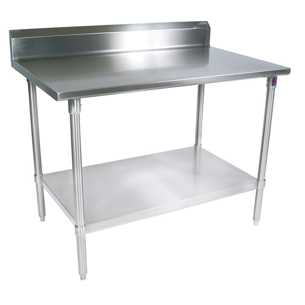 "John Boos ST4R5-3684SSK 84"" 14-ga Work Table w/ Undershelf & 300-Series Stainless Top, 5"" Backsplash"
