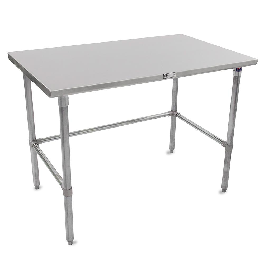 "John Boos ST6-24108GBK 108"" 16-ga Work Table w/ Open Base & 300-Series Stainless Flat Top"