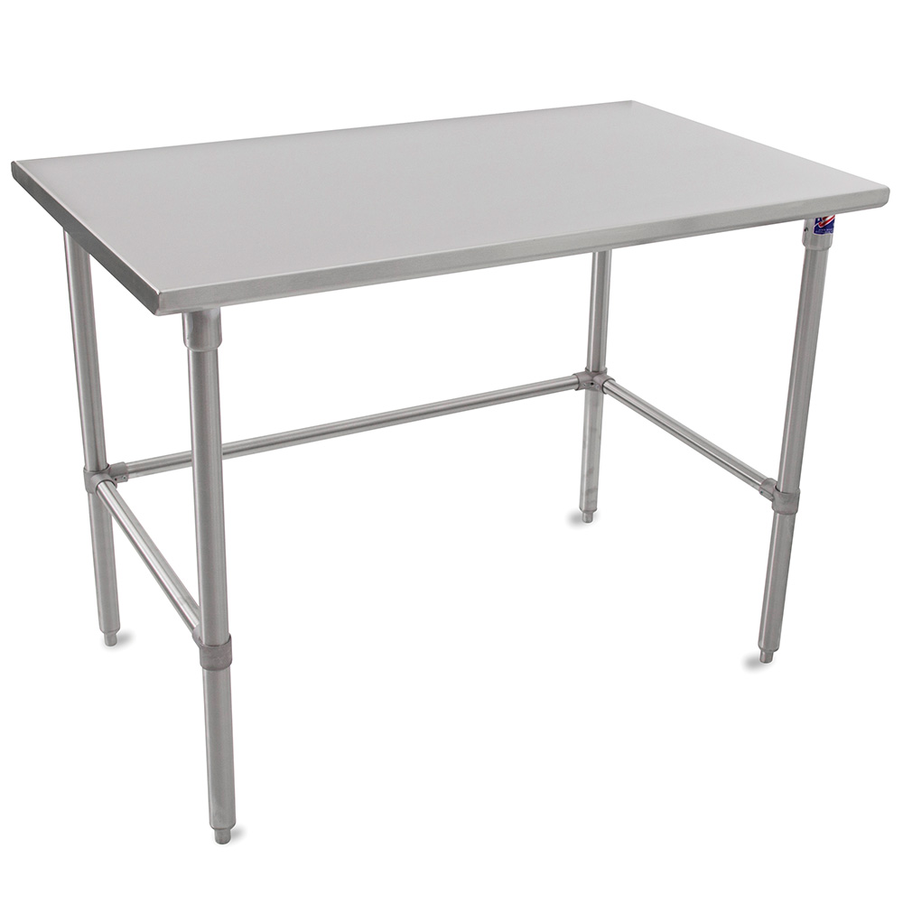 "John Boos ST6-24108SBK 108"" 16-ga Work Table w/ Open Base & 300-Series Stainless Flat Top"