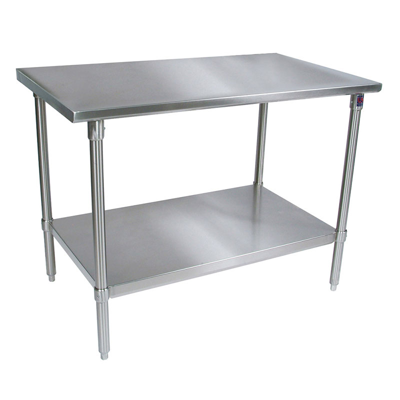 "John Boos ST6-2472GBK 72"" 16-ga Work Table w/ Open Base & 300-Series Stainless Flat Top"