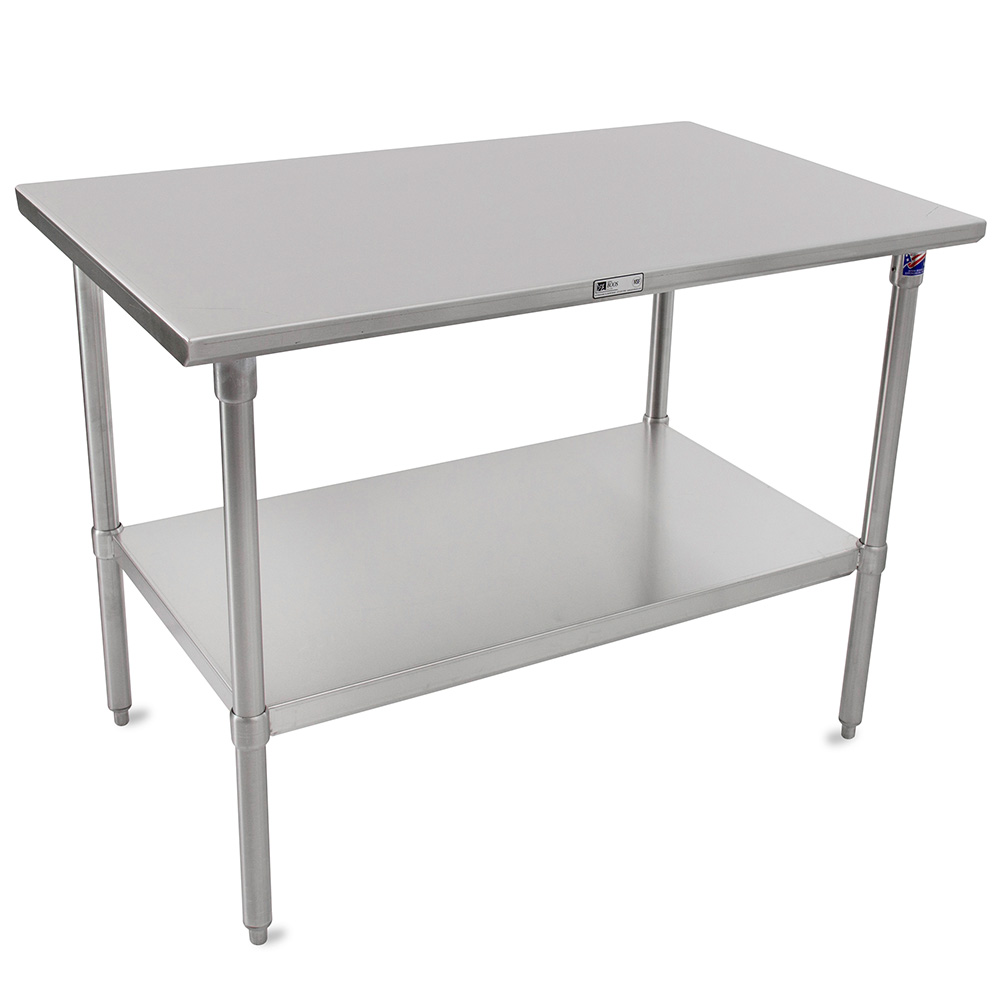 "John Boos ST6-30108SSK 108"" 16-ga Work Table w/ Undershelf & 300-Series Stainless Flat Top"