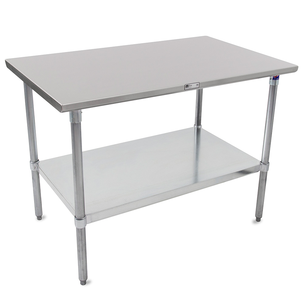 John Boos ST6-2472GSK Flat Top Work Table w/ Adjustable Galvanized Legs & Shelf, 72 x 24-in