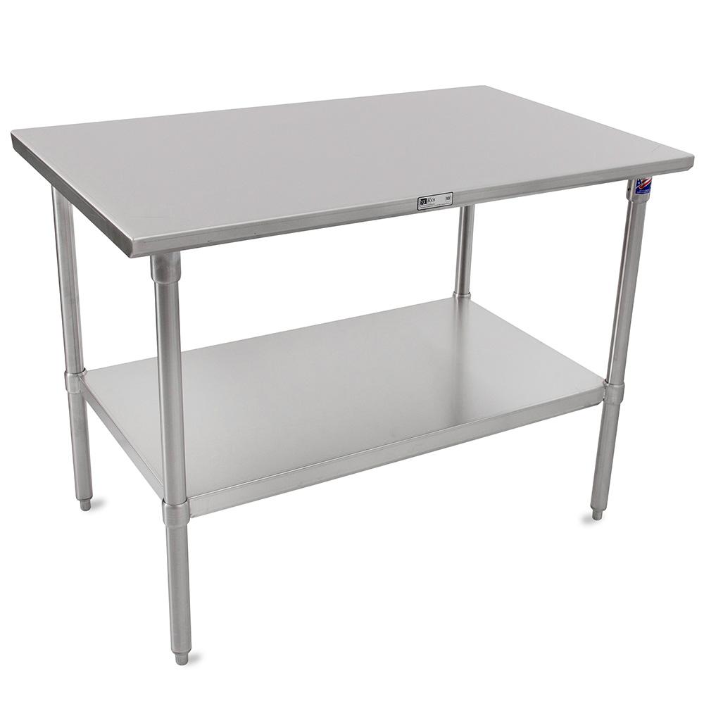 "John Boos ST6-30108SSK 108"" 16-ga Work Table w/ Undershelf & 300-Series Stainless Flat Top"
