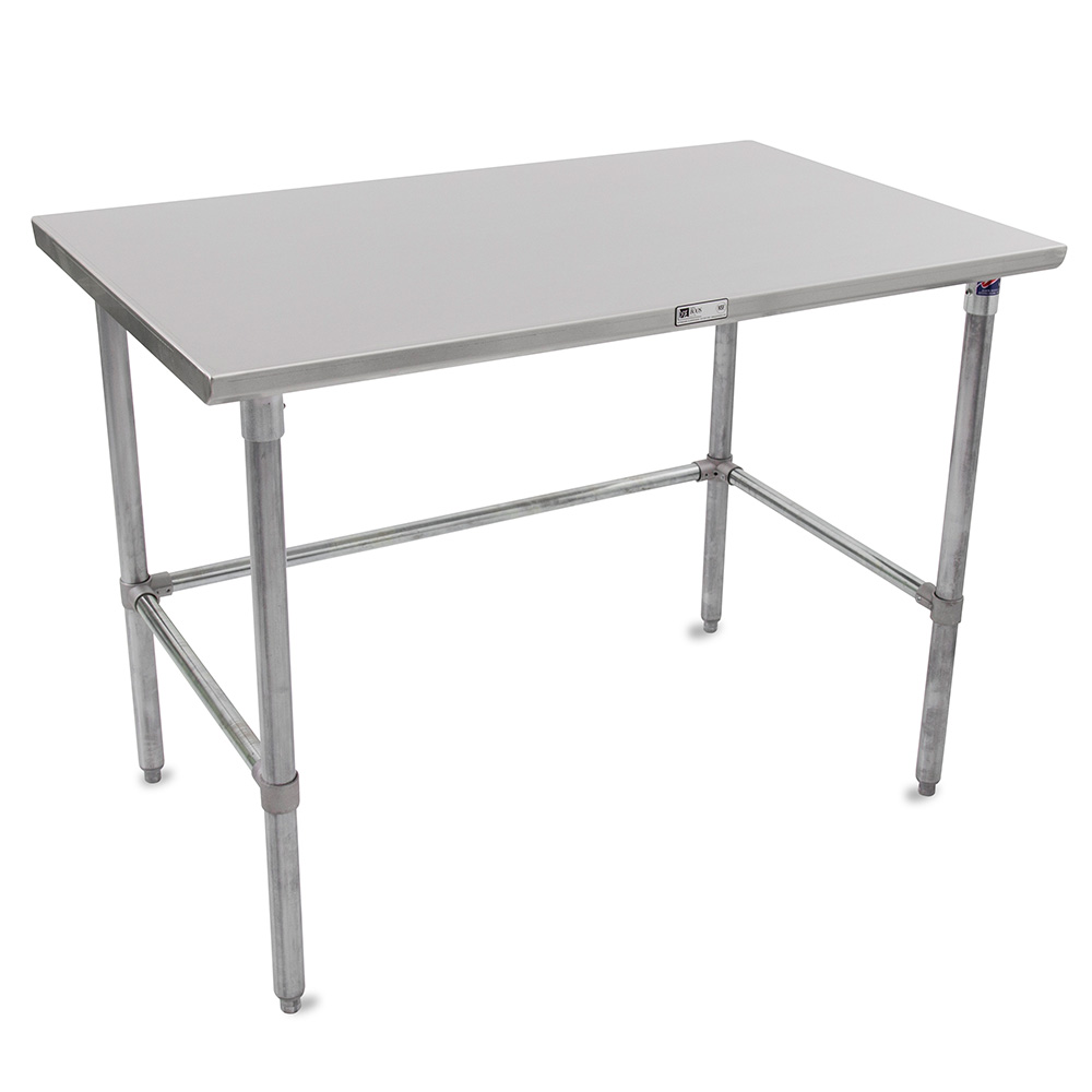"John Boos ST6-36120GBK 120"" 16-ga Work Table w/ Open Base & 300-Series Stainless Flat Top"