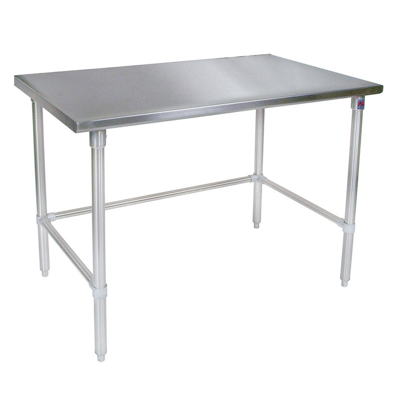 "John Boos ST6-3696GBK 96"" 16-ga Work Table w/ Open Base & 300-Series Stainless Flat Top"