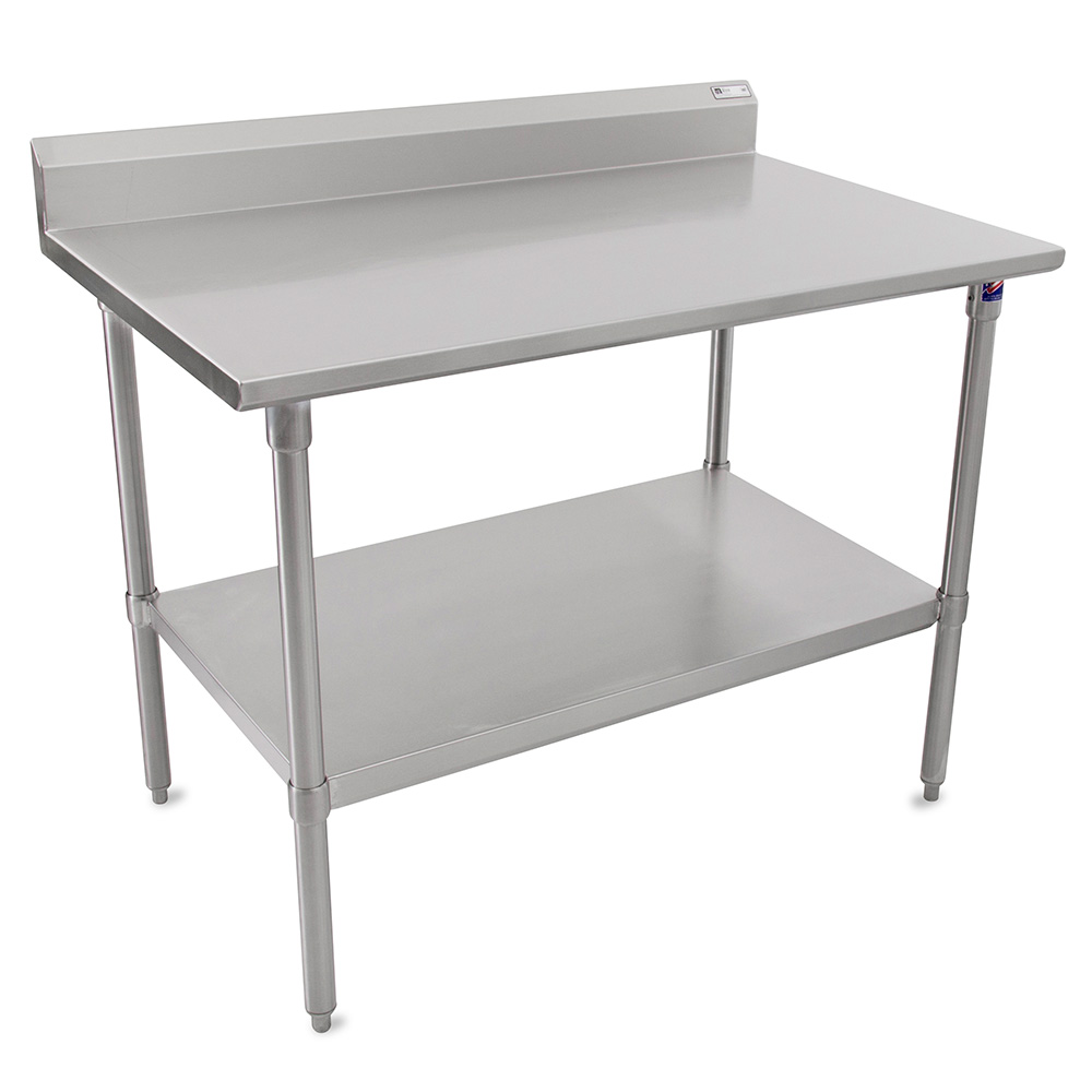 "John Boos ST6R5-24108SSK 108"" 16-ga Work Table w/ Undershelf & 300-Series Stainless Top, 5"" Backsplash"